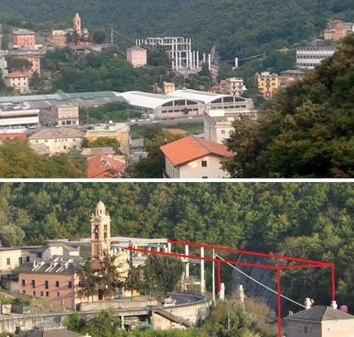 Ecco uno degli edifici in costruzione presso la valletta del torrente Mermi a Genova Ponte Carrega in Val Bisagno. La dimensione del cantiere è a c.a. 1/3 della lunghezza, l'edificio verrà avanti fino a occupare tutta la valletta.